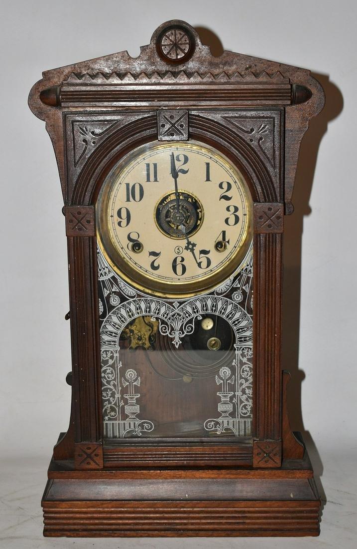 VICTORIAN WALNUT SHELF CLOCK, 19/20TH C.
