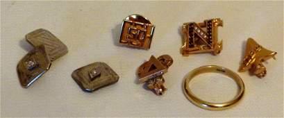 LOT PINS/CUFFLINKS/RING INCL. 10K/14K GOLD