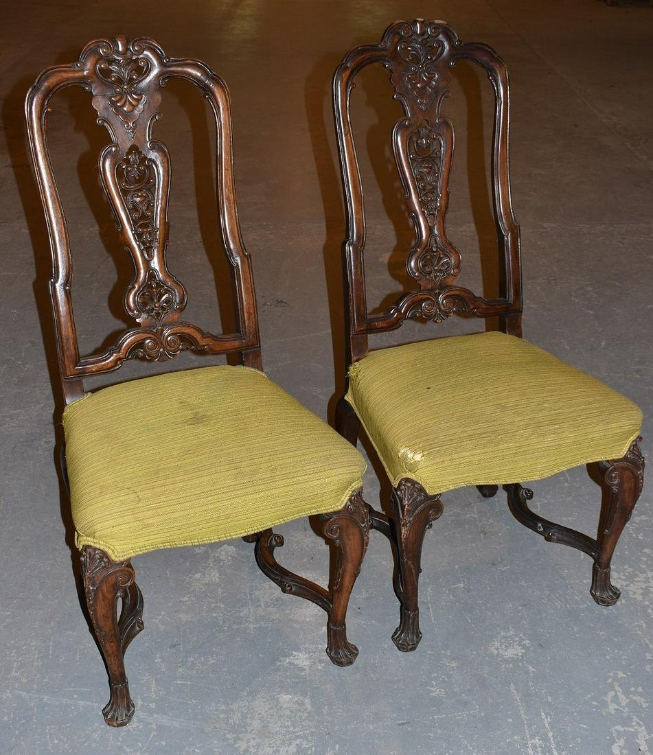 PR. FRENCH PROVINCIAL CARVED WALNUT SIDE CHAIRS