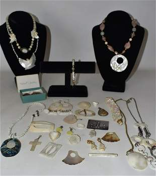 LOT ASST. CARVED SHELL JEWELRY INCL. ABALONE