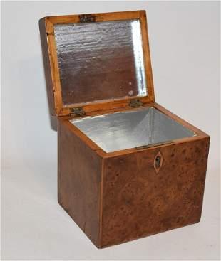 REGENCY OYSTER BURL WALNUT TEA CADDY, 19TH C.