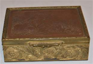 FRENCH BRONZE HUMIDOR SIGNED BOUGHS, 19THC