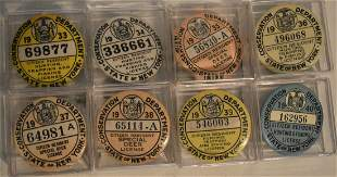 LOT 8 ASSORTED HUNTING/FISHING CELLULOID BADGES