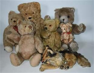 (7) VINTAGE TEDDY BEARS, INCL. STEIFF COLLIE, 20TH C.