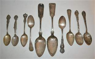 (10) ASST. STERLING/COIN SILVER SPOONS, 19/20TH C.