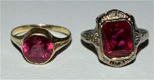 (2) ART DECO 14KT. GOLD/RUBY RINGS, C. 1920