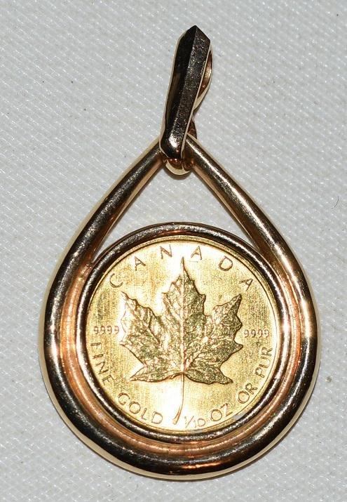 CANADIAN .999 MAPLE LEAF GOLD COIN W/14KT BEZEL
