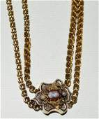 EXCEPTIONAL VICT. 14KT GOLD SLIDE NECKLACE, C. 1870