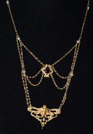 14KT. ART NOUVEAU LIONETTE NECKLACE W/AMETHYST