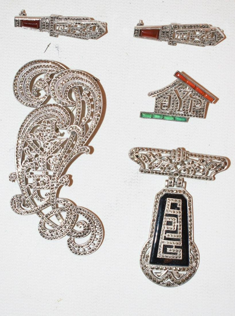 STERLING/MARCASITE INITIAL BROACHES/PINS, C. 1920