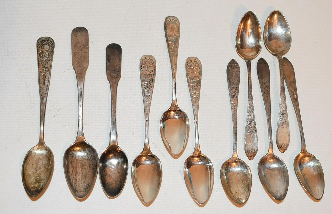 11 AM./ENGLISH COIN SILVER SPOONS, 18/19TH C.