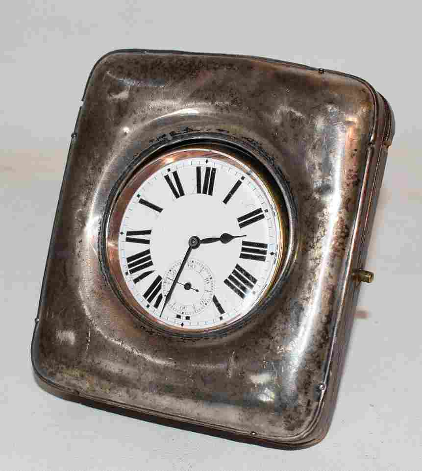 ENGLISH SILVER/LEATHER CASED TRAVEL CLOCK