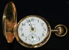 WALTHAM 14KT YELLOW GOLD HUNT CASE POCKET WATCH