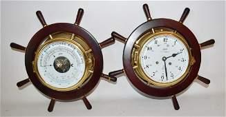 SET (2) INCL. SCHATZ ROYAL MARINER NAUTICAL CLOCK