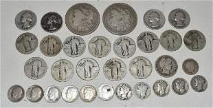 SILVER COINS INCL. MORGAN, MERCURY./BARBER DIMES