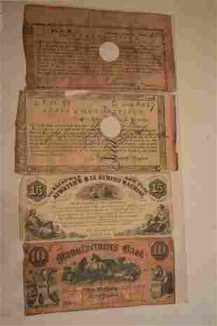 LOT (4) EARLY BANK NOTES INCL. (2) CONNECTICUT TREASURY