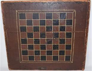 FOLK ART PAINTED PINE CHECKER BOARD W/ BREADBOARD ENDS