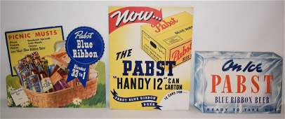 3 VINT. BREWERIANA, PABST BLUE RIBBON BEER TRI-FOLDS