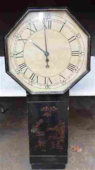 REGENCY CHINOISERIE LONG DROP CLOCK SIGNED J. BLACKMORE