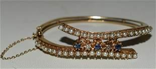 14KT YELLOW GOLD SAPPHIRE, DIAMOND & PEARL BRACELET