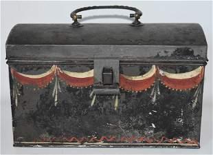 PENN. FOLK ART PAINTED TOLEWARE DOCUMENT BOX, 19TH C.