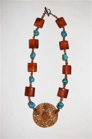 FINE MEXICAN AGATE/TURQUOISE/STERLING NECKLACE