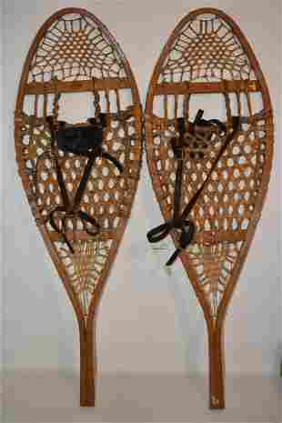 PAIR VINTAGE SNOW SHOES SIGNED FABER, C. 1950