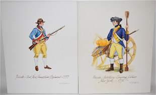 (2) W/C REVOLUTIONARY WAR SOLDIERS SIGNED A.L. GEDDES