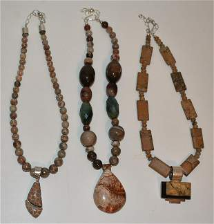 3 CONTEMPORARY STERLING, OCEAN FOSSIL, JASPER NECKLACES