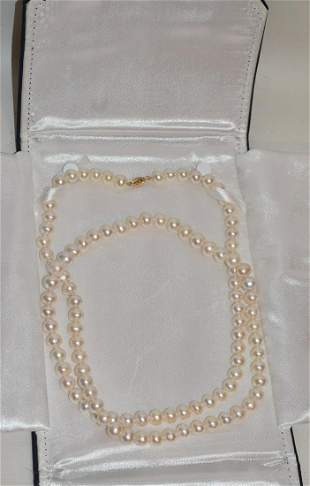 14KT YELLOW GOLD JAPANESE CULTURED PEARL NECKLACE
