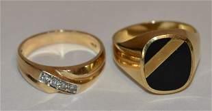 LOT (2) MODERN 14KT YELLOW GOLD/DIAMOND/ONYX RINGS