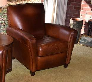 CONTEMPORARY LEATHER CLUB CHAIR, 20TH C.