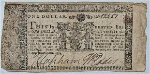 MARYLAND COLONIAL PAPER CURRENCY ONE DOLLAR APRIL 1774
