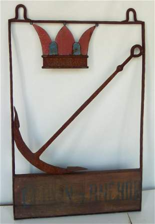 EARLY PAINTED IRON TRADE SIGN (TAVERN) CROWN & ANCHOR