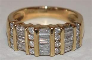 CONT. MODERN 14KT YW GOLD BAGUETTE DIAM. WEDDING BAND