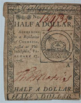 RARE COLONIAL PAPER CURRENCY 1/2 DOLLAR