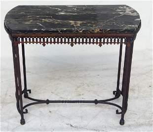 OSCAR BACH ART DECO IRON/MARBLE SIDE TABLE, C. 1920/30