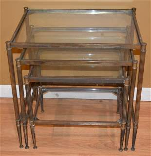 REGENCY BRASS/GLASS NEST OF TABLES, C. 18940/50