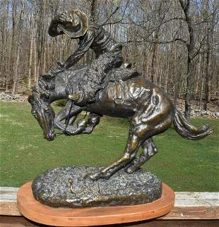 "CONTEMPORARY FREDRICK REMINGTON BRONZE ""RATTLESNAKE"""