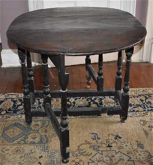 WILLIAM & MARY CARVED WALNUT GATE LEG TABLE, 18TH C.