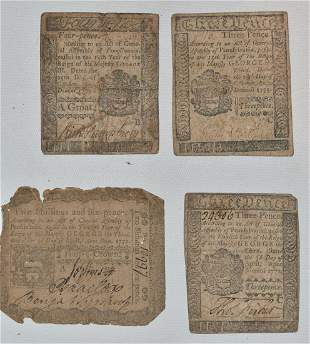 LOT (4) COLONIAL PAPER CURRENCY, 2 SHILLINGS & 6 PENCE