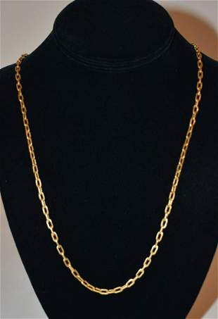 DECO 18KT YELLOW GOLD POCKET WATCH CHAIN, C. 1930/40