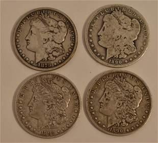 (4) MORGAN SILVER DOLLARS 1882-O, 1878-CC, (2) 1890-O
