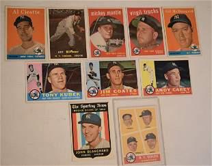 (10) 1959 NY YANKEE BASEBALL CARDS INCL. MICKEY MANTLE
