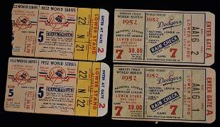 4 ORIGINAL 1952 WORLD SERIES TICKETS FOR GAMES 5 & 7