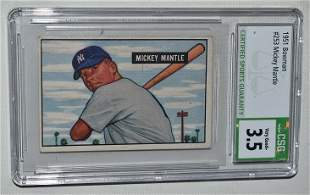 BOWMAN 1951 MICKEY MANTLE ROOKIE CARD #253