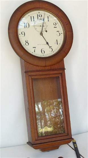 SETH THOMAS #2 OAK LONG DROP WALL CLOCK, C. 1910/20