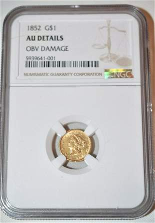 1852 1 DOLLAR LIBERTY HEAD GOLD COIN, AU DETAILS