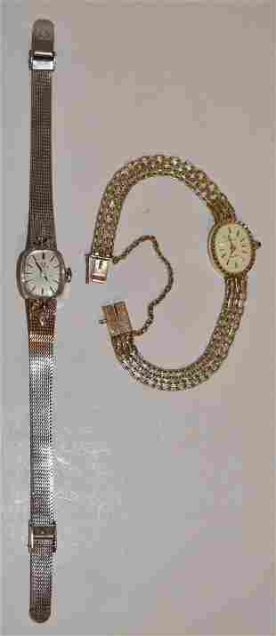 (2) LADIES WRIST WATCHES INCL. OMEGA 14KT WHITE GOLD