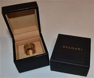 BVLGARI 18KT YELLOW GOLD (TUBULAR STYLE) RING, C. 1980